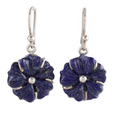 Artisan Crafted Lapis Lazuli Flower Earrings with Silver 925