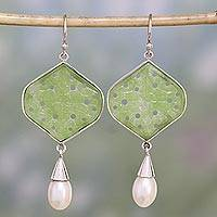 Quartz and cultured pearl dangle earrings, 'Flower and Dew' - Sterling Silver, Green Quartz, and Cultured Pearl Earrings