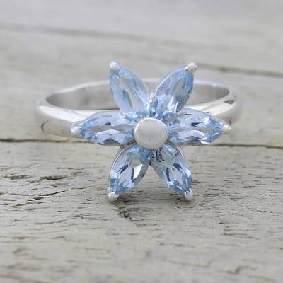 birthstone rings size 11 - Blue Topaz and Sterling Silver Floral Ring from India