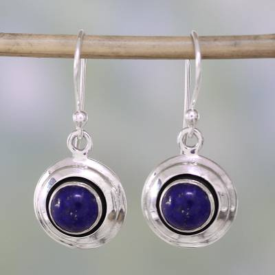 Lapis lazuli dangle earrings, Midnight Discs