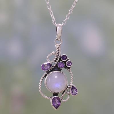 Rainbow moonstone and amethyst pendant necklace, 'Misty Vine' - Rainbow Moonstone and Amethyst Pendant Necklace from India