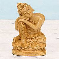 Wood sculpture, 'Buddha at Rest' - Hand Carved Kadam Wood Sculpture of Buddha from India