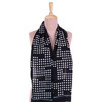 Cotton scarf, 'Bubble Maze' - Bubble Motif Printed Cotton Scarf in Ebony from India