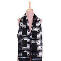 Cotton scarf, 'Bubble Comfort' - Bubble Motif Printed Cotton Scarf in Ebony from India