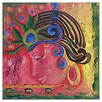 'Celebrations of Holi' - Signed Expressionist Painting of Hindu Krishna from India