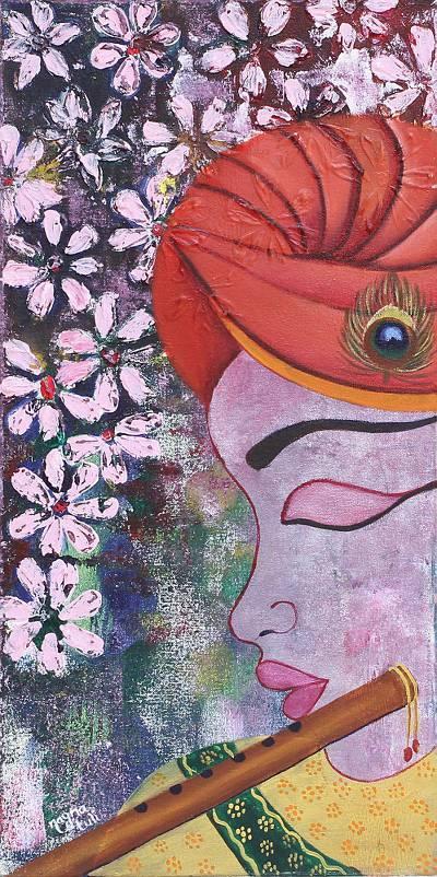 'Uniting With Lord Krishna' - Signed Expressionist Hindu Painting of Krishna from India