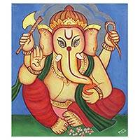 'Siddhi Ganapati' - Signed Multicolored Painting of Ganesha from India