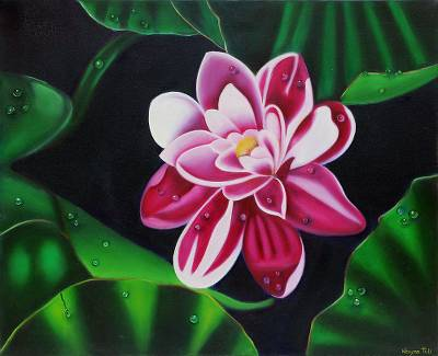 'Floral Dew' - Signed Painting of a Pink Flower with Leaves from India