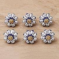 Ceramic knobs, 'Lapis Flowers' (set of 6) - Six Ceramic Floral Knobs in Blue and White from India