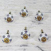 Ceramic knobs, 'Petite Blue Flowers' (set of 6) - Six Hand Painted Ceramic Floral Knobs by Indian Artisans