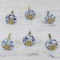 Ceramic cabinet knobs, 'Blue Floral Vines' (set of 6) - Six Blue and White Floral Ceramic Cabinet Knobs
