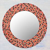 Glass mosaic wall mirror, 'Triangle Energy' - Handcrafted Orange and Brown Glass Mosaic Wall Mirror