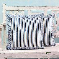 Cotton cushion covers, 'Blue Notes' (pair) - Two Blue on White Block Print Cushion Covers from India