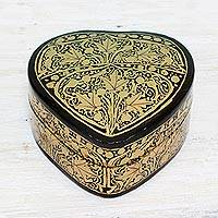 Papier mache decorative box, 'Royal Grandeur' - Black and Gold Papier Mache Decorative Box from India