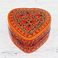 Papier mache decorative box, 'Royal Delight' - Handcrafted Heart Shaped Papier Mache Decorative Box