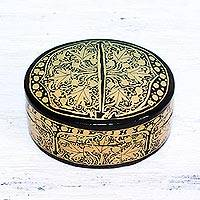 Papier mache decorative box, 'Serene Grandeur' - Black and Gold Papier Mache Decorative Box from India