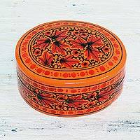 Papier mache decorative box, 'Serene Delight' - Orange and Red Papier Mache Decorative Box from India