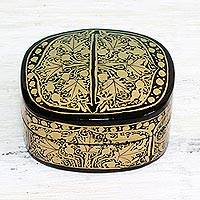 Papier mache decorative box, 'Graceful Grandeur' - Gold and Black Papier Mache Decorative Box from India