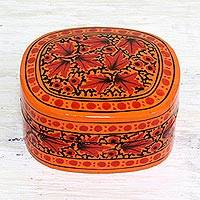 Papier mache decorative box, 'Graceful Delight' - Hand Painted Papier Mache Decorative Box from India