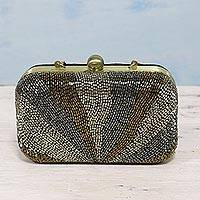 Beaded evening bag, 'Sparkling Paths' - Beaded Evening Handbag with Optional Strap from India