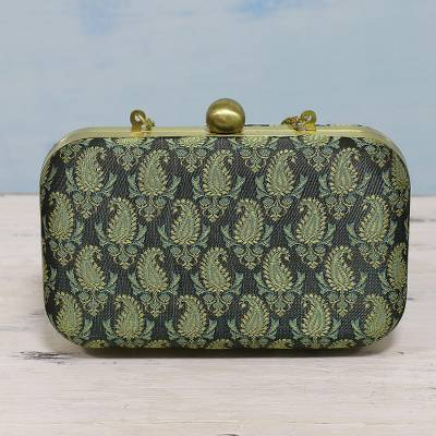 Brocade evening bag, 'Paisley Garden' - Green Paisley Evening Bag with Shoulder Strap from India