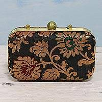 Evening bag, 'Floral Dance' - Evening Clutch or Shoulder Bag with Indian Floral Brocade