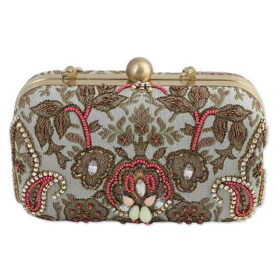 Beaded Evening Bag with Leaf and Paisley Pattern