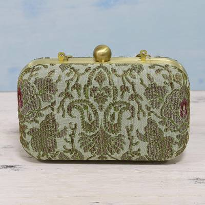 Brocade evening bag, 'Vintage Grace' - Vintage Look Evening Bag with Green Leaf Pattern