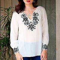 Silk blouse, 'Moonlight Symphony' - Ivory Silk Long-Sleeved Blouse with Black Floral Embroidery