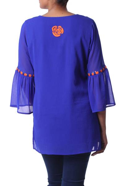 Embroidered tunic, 'Royal Roses' - Blue and Orange Floral Motif Embroidered Tunic from India