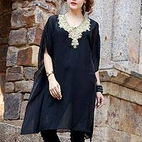 Embellished sheer caftan, 'Arabian Beauty' - Black Hand Embroidered and Embellished Caftan from India