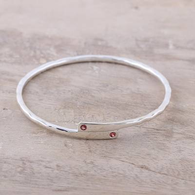 Garnet bangle bracelet, 'Simple Path' - Minimalist Garnet Bangle Bracelet from India