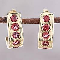 Garnet half-hoop earrings, 'Jaipur Curve' - 23k Gold Plated Sterling Silver Garnet Half-Hoop Earrings