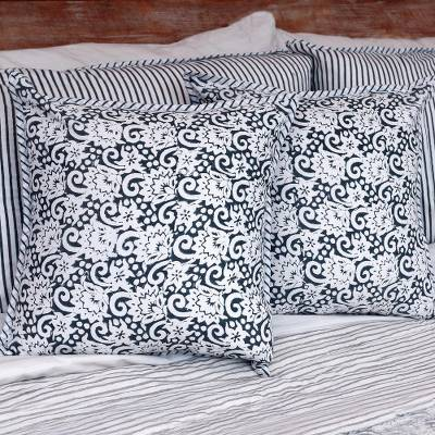 Block print cotton cushion covers, 'Misty Morning' (pair) - Square Cotton Cushion Covers in Grey and White Print (Pair)