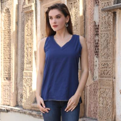 Sleeveless cotton blouse, 'Azure Felicity' - Handmade Azure Summer Cotton Blouse from India
