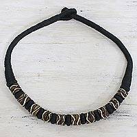 Bone and cotton beaded necklace, 'Tribal Monarch' - Beaded Bone Necklace with Cotton Cord from India
