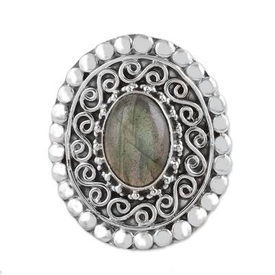 Labradorite and Sterling Silver Cocktail Ring from India