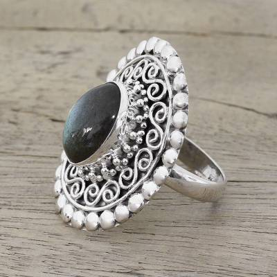Labradorite cocktail ring, 'Paradise Oval' - Labradorite and Sterling Silver Cocktail Ring from India