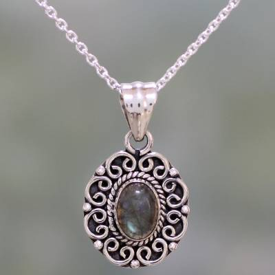 Labradorite pendant necklace, 'Silver Allure' - Labradorite and Sterling Silver Pendant Necklace from India