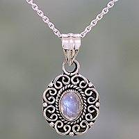 Rainbow moonstone pendant necklace, 'Moonstone Allure' - Rainbow Moonstone and Sterling Silver Pendant Necklace