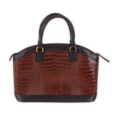 Handcrafted Leather Handle Handbag in Chestnut from India