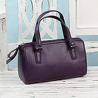 Leather baguette handbag, 'Chic Amethyst' - Handcrafted Leather Baguette in Purple from India