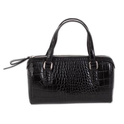 Handcrafted Croc Texture Leather Baguette in Black