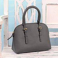 Leather handle handbag, 'Grey Sophistication' - Grey Leather Handle Handbag from India