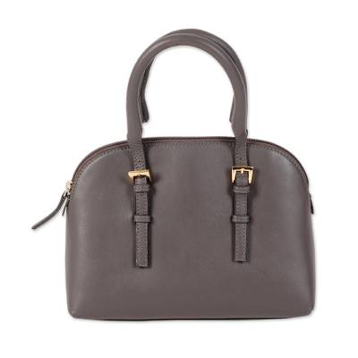 Grey Leather Handle Handbag from India