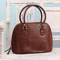 Leather handle handbag, 'Urban Chic' - Handcrafted Brown Leather Handle Handbag from India