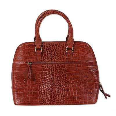 Handcrafted Brown Leather Handle Handbag from India