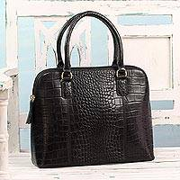 Leather handle handbag, 'Weekend Luxury' - Handcrafted Black Leather Handle Handbag from India