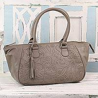 Leather handbag, 'Jali Elegance' - Taupe Nappa Leather Handbag with Floral Design from India