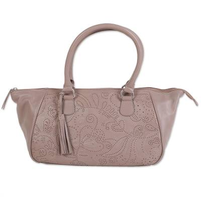 Taupe Nappa Leather Handbag with Floral Design from India